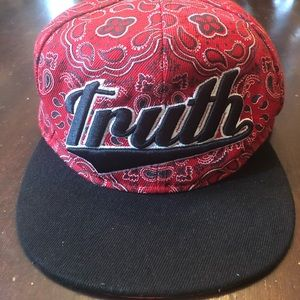 "Other - Mens ""TRUTH"" hat. Red and black."